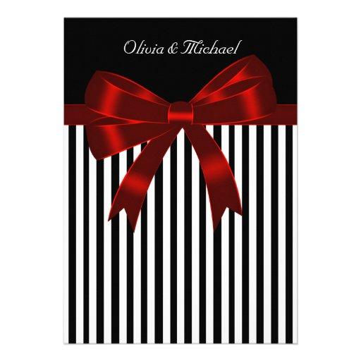 Elegant Black and Red Stripe Wedding Personalized Invites