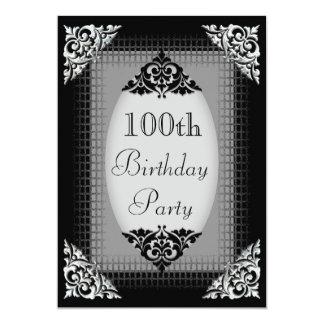 Elegant Black and Silver 100th Birthday 13 Cm X 18 Cm Invitation Card