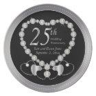 Elegant Black and Silver 25th Silver Anniversary Plate