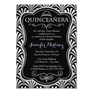Elegant Black and Silver Art Deco 11 Cm X 16 Cm Invitation Card