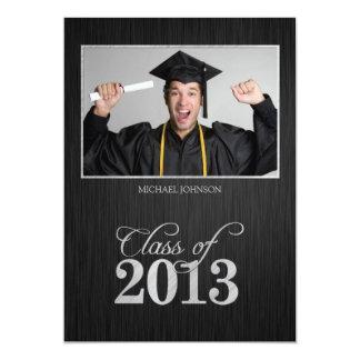 Elegant black and silver Class of 2013 Graduation 13 Cm X 18 Cm Invitation Card