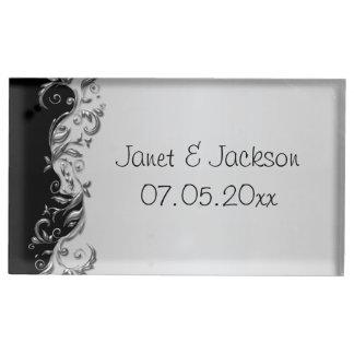 Elegant Black and Silver Floral Wedding Place Card Holder