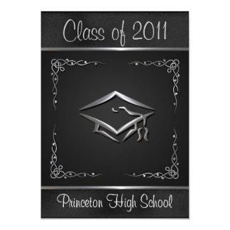 Elegant Black and Silver Graduation Invitations