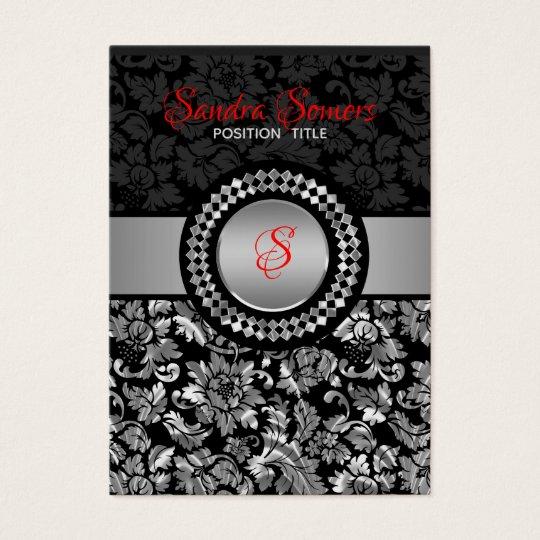 Elegant Black And Silver Grey Floral Damasks Business Card