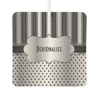 Elegant Black and Silver Pattern   Personalize Car Air Freshener