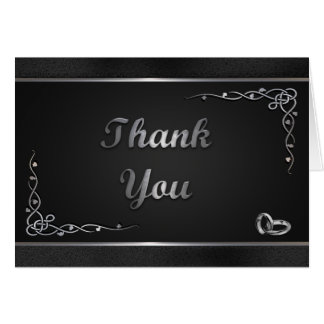 Elegant Black and Silver Wedding Thank You Cards
