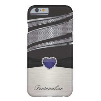 Elegant Black and Silver with Blue Heart Jewel Barely There iPhone 6 Case
