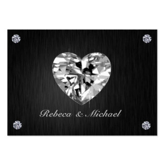 Elegant Black and Silver with Diamonds RSVP Cards Business Card Templates