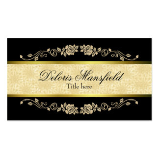 Elegant Black and Tan Damask Business Card