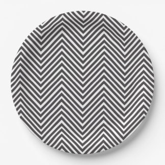 Elegant Black and White Abstract Chevron Pattern Paper Plate