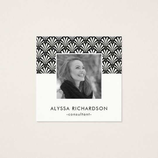 Elegant Black and White Art Deco | Photo Square Business Card
