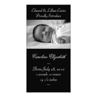 Elegant Black and White Baby Birth Annoucement Photo Greeting Card