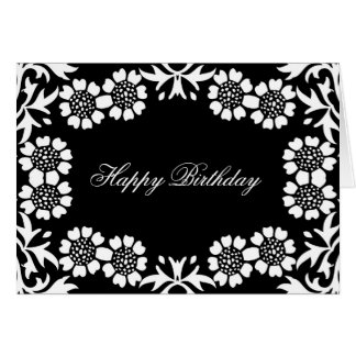 elegant black and white birthday greetings card