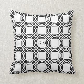 Elegant Black and White Celtic Knot Monogram Cushion