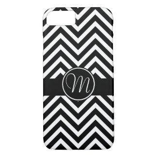 Elegant  Black and white chevron monogrammed iPhone 8/7 Case