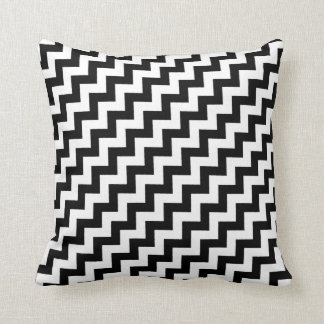 elegant black and white chevron stripes cushion