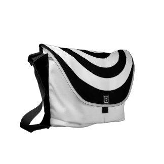 Elegant Black and White Circles - Messenger Bag