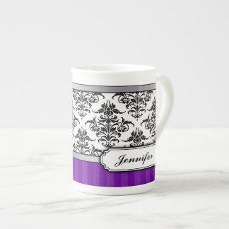 Elegant Black and White Damask Bone China mug