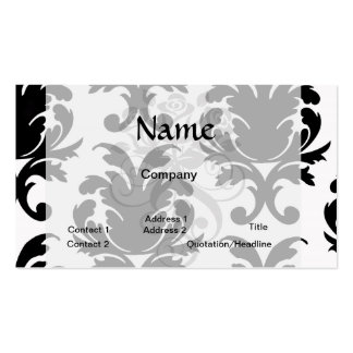elegant black and white damask business cards