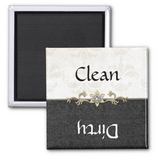 Elegant Black and White Damask Dishwasher Magnet