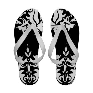 Elegant Black and White Damask Sandals