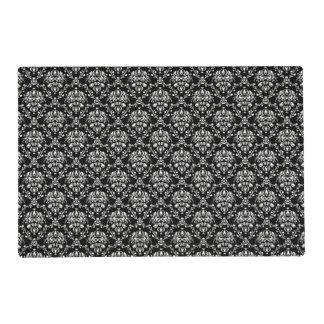 Elegant Black and White Damask Laminated Placemat