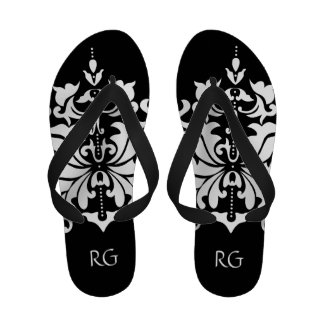 Elegant Black and White Damask Monogrammed Flip-Flops