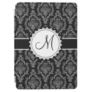 Elegant Black and White Damask Pattern Monogram iPad Air Cover