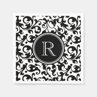 Elegant Black and White Damask Scroll Monogrammed Disposable Serviettes
