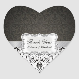 Elegant Black and White Damask Thank You Heart Sticker