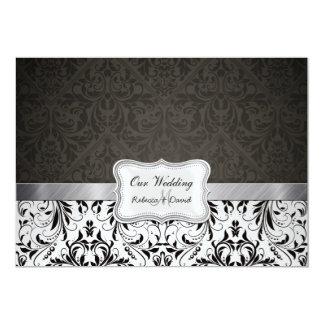 Elegant Black and White Damask Wedding invites