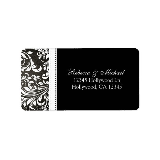 Elegant Black and White Damsk Address Labels