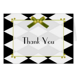Elegant Black and White Diamond Thank You Card