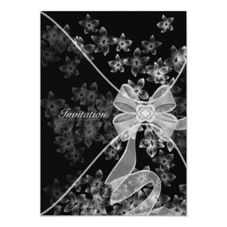 Elegant Black and White Dogwood Party Card