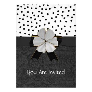 Elegant Black and White Engagment Party Invitation
