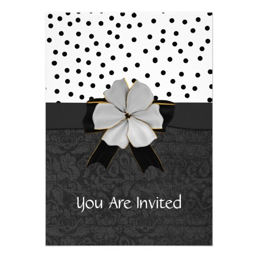 Elegant Black and White Engagment Party Invitation