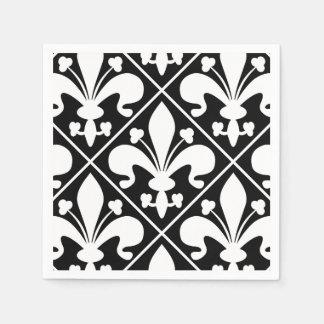 Elegant Black and White Fleur de Lys Paper Napkin