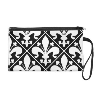 Elegant Black and White Fleur de Lys Wristlet