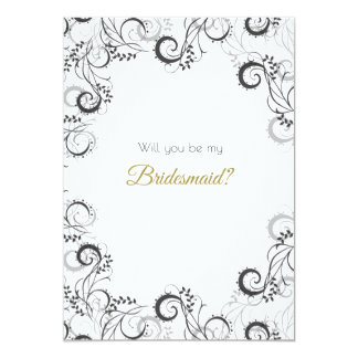 Elegant Black and White Floral Bridesmaid Card