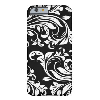 Elegant Black and white floral damask Barely There iPhone 6 Case