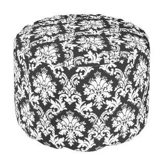 Elegant Black and White Floral Damask Pattern Pouf