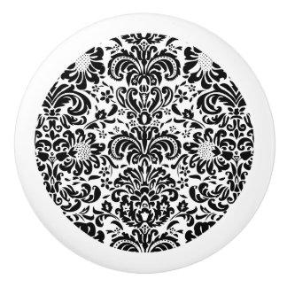 Elegant Black And White Floral Damasks Ceramic Knob