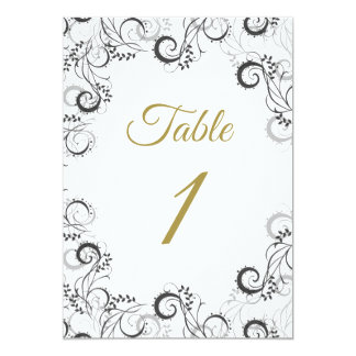 Elegant Black and White Floral Table Card