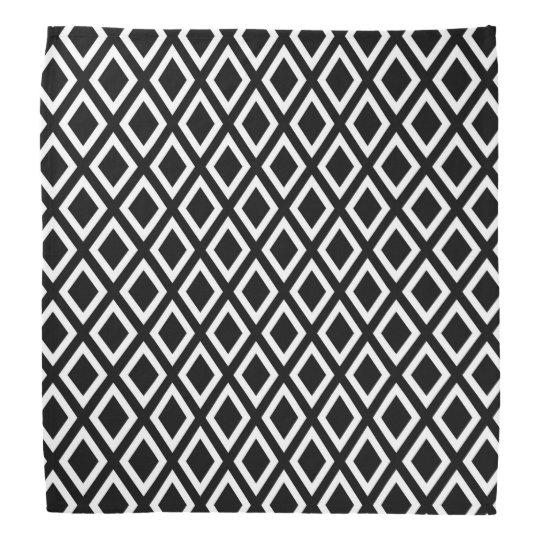 Elegant black and white geometrical pattern bandana