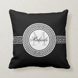 Elegant Black and White Greek Key Monogram Pillow
