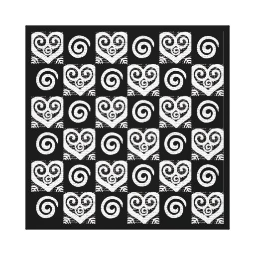 Elegant Black and White Hearts Gallery Wrapped Canvas