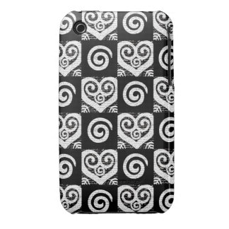 Elegant Black and White Hearts iPhone 3 Cover