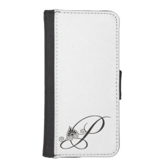 Elegant Black and white initial P Monogram iPhone SE/5/5s Wallet Case
