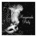 Elegant Black and White Masquerade Party Personalized Invite