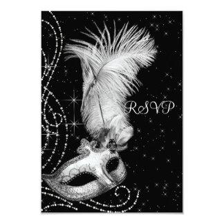 Elegant Black and White Masquerade Party RSVP 9 Cm X 13 Cm Invitation Card